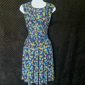 Boden dot dress pleated waist